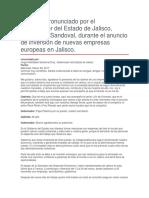 Anuncio de Inversión de Nuevas Empresas Europeas en Jalisco