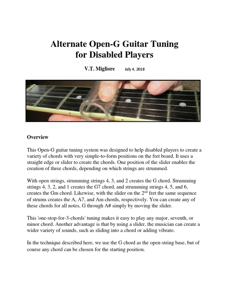 Alternate Open G Guitar Tuning For Disabled Players Guitars