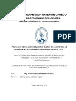 Aplicacion y Evaluacion Del Aditivo Quimico en La Carretera No Pavimentada de Bajo Transito