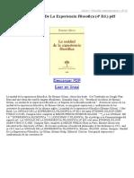 La Unidad de La Experiencia Filosofica (4ª Ed)