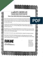DUKANE Warranty
