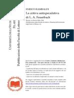 La Critica Antispeculativa Di Feuerbach - Rambaldi