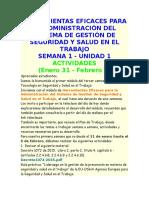 Expliocacion Herramientas Eficaces Para La Administración Del Sistema de Gestión de Seguridad y Salud en El Trabajo