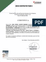 Certificado Inter Sur