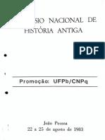 Programação Do I Simpósio Nacional de História Antiga - UFPB 1983