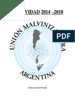 Unión Malvinizadora. Actividad 2014 - 2018