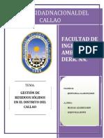 Gestion de Residuos Solidos e El Distrito Del Callao