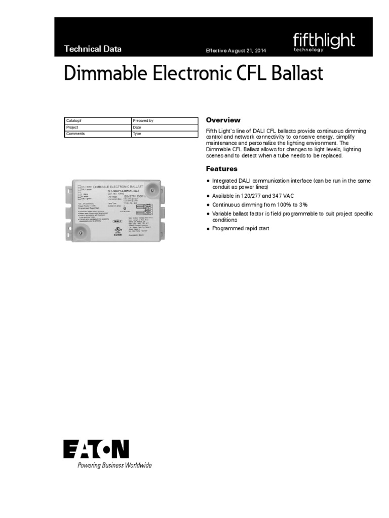 Cfl Ballast Specsheet Fwb Fluorescent Lamp Electrical Wiring New Led Control Circuit Using Irs2530d Diagram