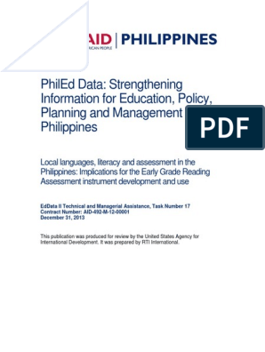 PhilEdData_Languages and Literacy Report | Tagalog Language