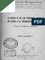 La Buena Fe de Las Personas Juridicas en Orden a La Prescripcion Adquisitiva - Navarrete