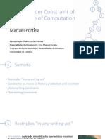 Writing Under Constraint of the Regime of Computation - Manuel Portela (Apresentação)