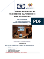 BULLETIN Académie Fide Inscription Adultes 2018-2019