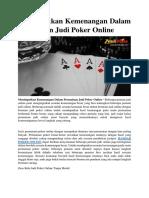Mendapatkan Kemenangan Dalam Permainan Judi Poker Online
