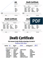 Character Death Certificate printable