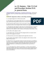 Judgements and Florida Laws