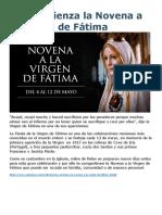 Hoy Comienza La Novena a La Virgen de Fátima
