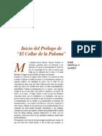 Prólogo a El Collar de La Paloma. Ortega y Gasset