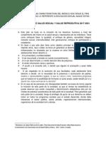 Caracteristicas Del Plan de Prevencion Salud Secuxal y Reproductiva 2017 2021
