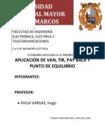 VAN, TIR, PAYBACK Y PUNTO EQUILIBRIO + EXCEL4