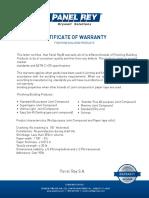 Certificate Warranty Finishing Panelrey