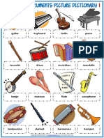Musical Instruments Vocabulary Esl Picture Dictionary Worksheets for Kids