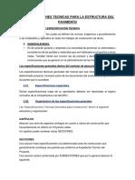 ESPECIFICACIONES TÉCNICAS PARA LA ESTRUCTURA DEL PAVIMENTO