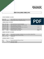 Horario MINI Challenge Jerez