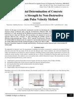 Experimental Determination of Concrete Compressive Strength by Non-Destructive Ultrasonic Pulse Velocity Method