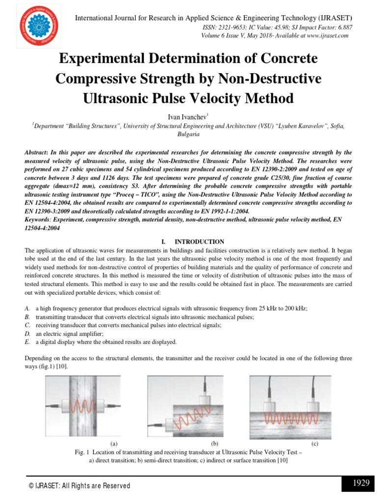 Experimental Determination of Concrete Compressive Strength by Non