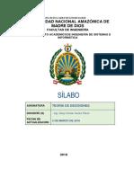 Sílabo Teoría de Decisiones v. 2018 I
