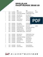 DEL-Spielplan Hauptrunde 2018/19