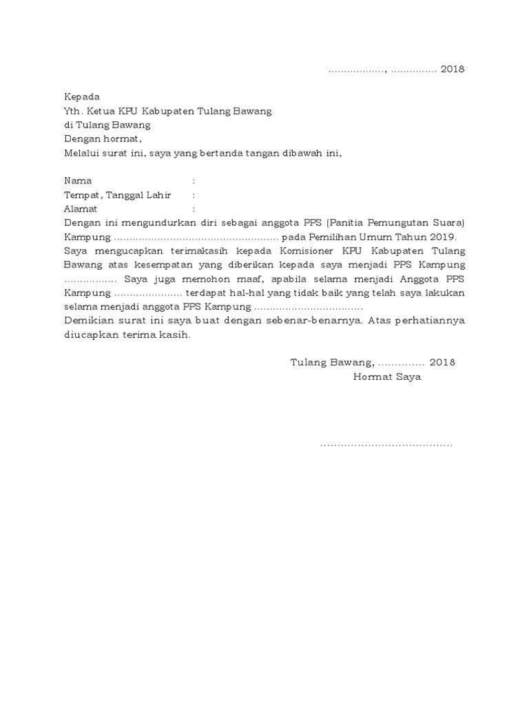 Contoh Surat Pengunduran Diri Resmi Pps