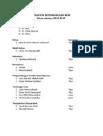 Struktur Kepengurusan Bem Periode 2014-2015