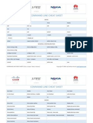 Command Line Cheat Sheets Cisco Juniper Alcatel Huawei