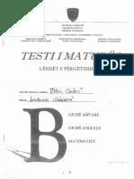 Testi i Maturës - Lëndët e Përgjithshme B