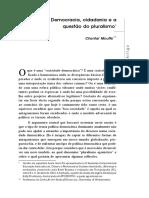 Mouffe Democracia Cidania Questão Pluralismo
