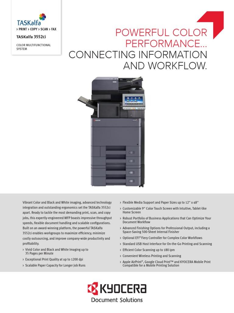 TASKalfa+3552ci+Spec+Sheet | Fax | Image Scanner
