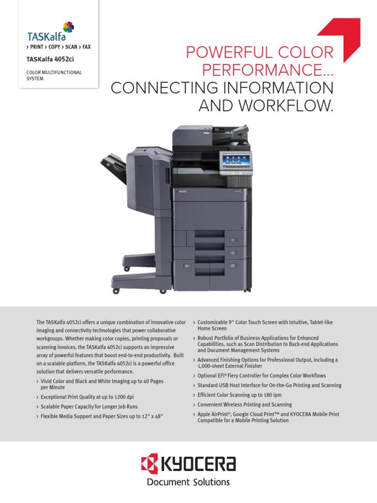 TASKalfa+4052ci+Spec+Sheet | Fax | Computer Network