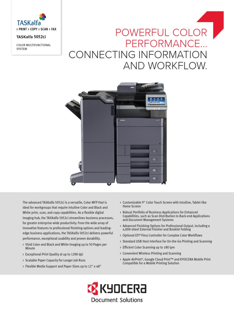 TASKalfa+5052ci+Spec+Sheet | Fax | Computer Network