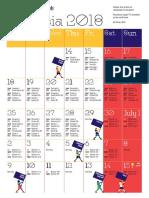Russia 2018 A4 Calendar