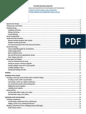Python for Data Analysis   Matrix (Mathematics)   Database Index