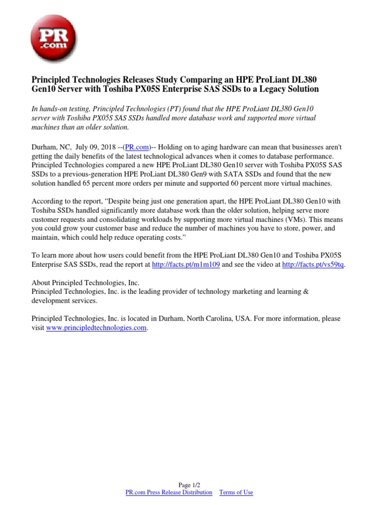 Principled Technologies Releases Study Comparing an HPE