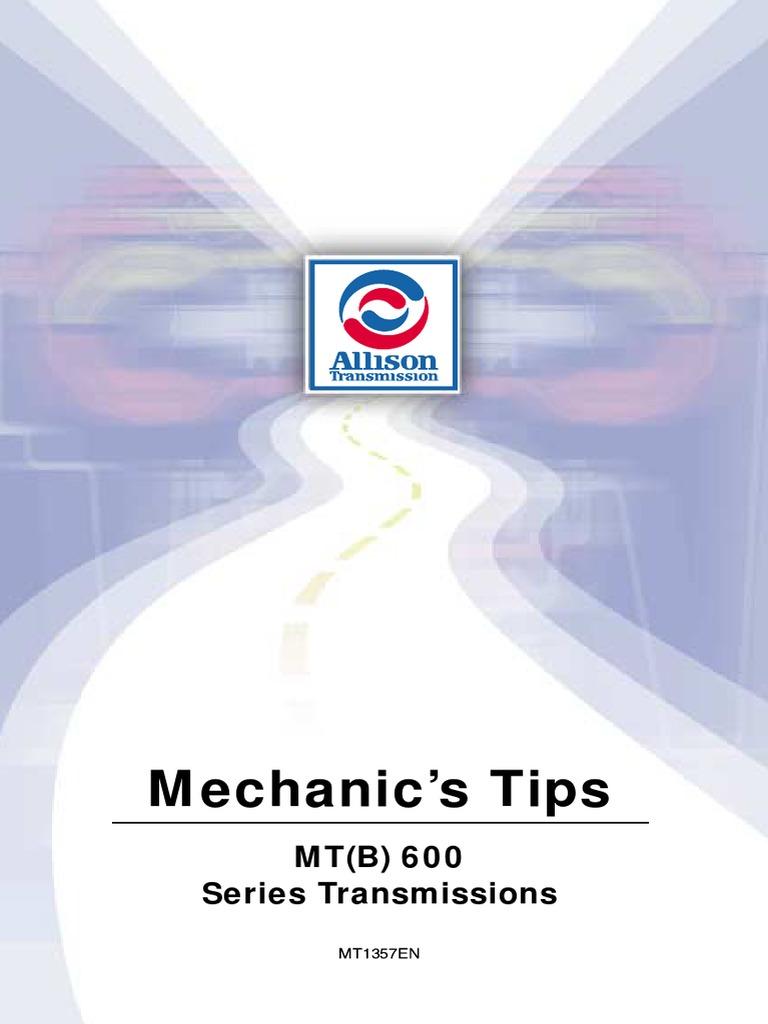 Allison MT(B)600 Series Transmissions Service Manual PDF.pdf | Transmission  (Mechanics) | Vehicle Technology