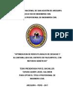 """Optimizacion de Redes Pluviales de Desague y Alcantarillado Del Distrito de Paucarpata, Con Metodos Geneticos"""""""