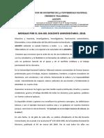 Mensaje Por El Dia Del Docente Universitario. 2018.
