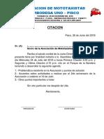 Asociacion de Mototaxista3 Iperbodega Uno Citacion 27 de Junio Del 2018