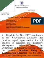 DEPED ORDER # 47 - Omnibus Policy on Kindergarten Education
