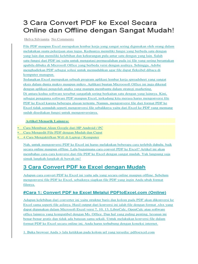 Ke excel merubah file pdf