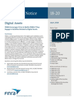 FINRA Regulatory-Notice-18-20 Regarding Digital Assets