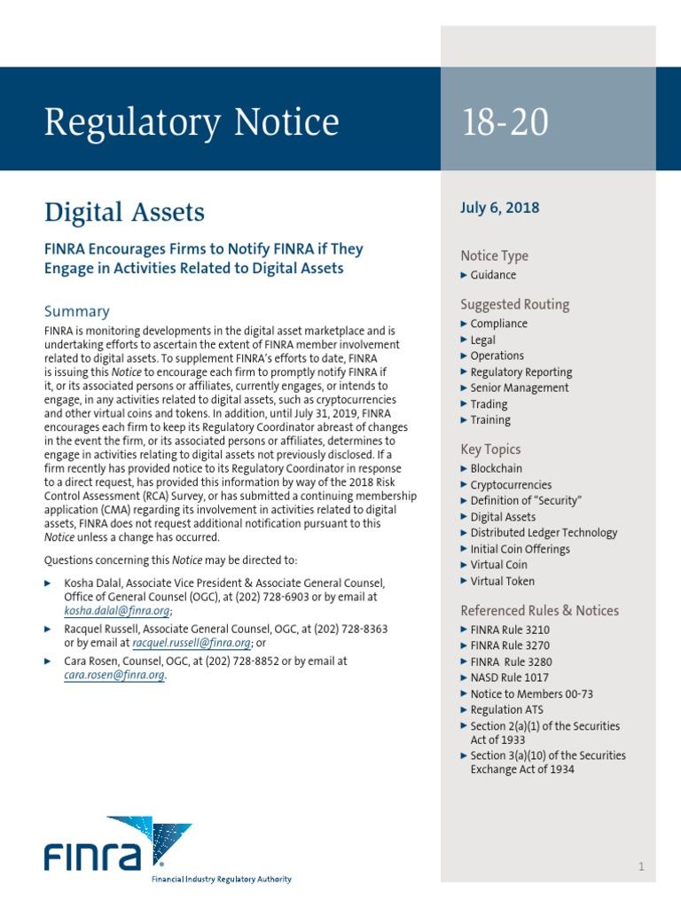Finra Regulatory Notice 18 20 Regarding Digital Assets